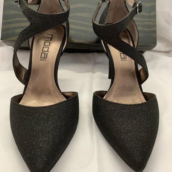 "Moda Spana Black Glittery 3 1/2"" Heels"
